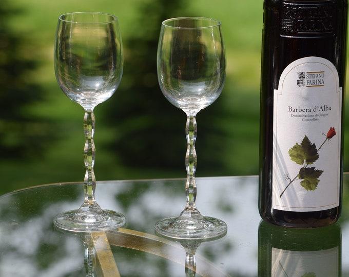 5 Vintage CRYSTAL Wine Glasses, After Dinner Drink Glasses, Vintage 5 oz Claret Curved Stem Wine Glasses, Dessert Wine Glasses
