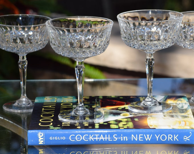5 Vintage Pressed Glass Cocktail Martini Glasses, circa 1950's, Wedding Toasting Vintage Champagne Coupes, Mixologist Cocktail Glass