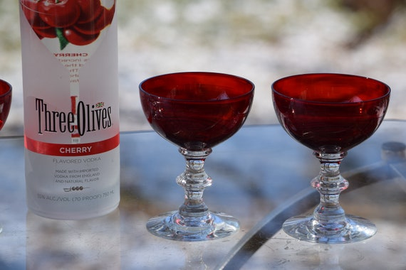 Vintage Ruby Red Cocktail Glasses - Coupes, Set of 4,  Mixologists Ruby Red Cocktail Glasses, Cocktail Party Glasses Holiday Cocktail Coupes
