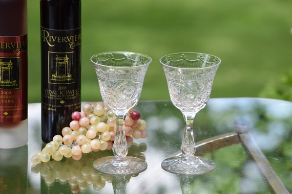 Vintage CRYSTAL Etched Bubble Stem 4 oz Wine Glasses, Set of 5, Seneca, Cut 870, c. 1930's,  Antique Crystal 4 oz Claret ~ Port Wine Glasses