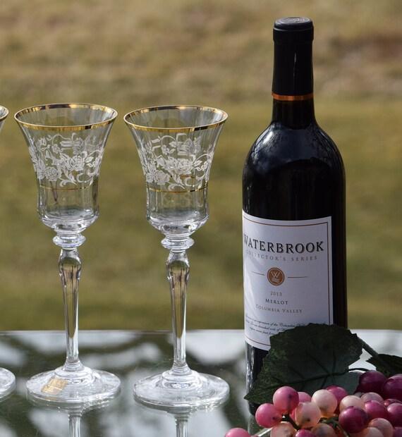 Vintage Gold Rimmed Etched Wine Glasses, Set of 2,  Antique Lace ~ Mikasa ~  Elegant Gold Rimmed Etched Water Goblets ~ Wedding Toasting