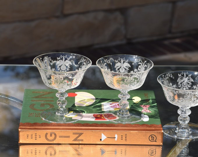 4 Vintage Etched Cocktail Glasses, Heisey, Orchid, 1940's, Craft Cocktail Glasses, Tall Etched Champagne ~ Martini Glasses, Drinking Glasses