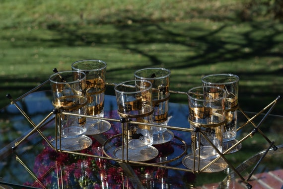 Vintage LIBBEY Highball Glasses with Caddy, Set of 6 Cocktail Glasses, Mid Century Tipsey Tim Caddy with Libbey Whiskey, Bourbon Glass
