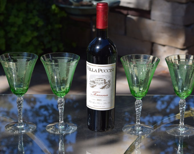 4 Vintage Green Etched Wine Glasses with 4 Matching Plates, Fostoria ~ Beverly Green, c. 1927,  Green Uranium Glass with clear Twisted Stem