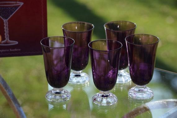 Vintage Amethyst - Purple Wine Cordials,  Set of 5, Fostoria, Victorian Amethyst, circa 1933, After Dinner Drink - Port Wine 4 oz Glasses