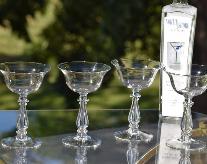 6 Vintage CRYSTAL Cocktail Glasses, Cambridge ~ Regency ~ c. 1941, Vintage Crystal Martini Glass, Wedding Toasting Champagne Glasses
