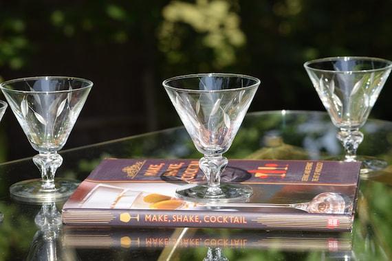 Vintage Etched Cocktail Glasses, Set of 6, Mixologist Craft Cocktail Glasses, Summer Cocktail ~ Mocktail Glasses,  Cocktail Party Glasses