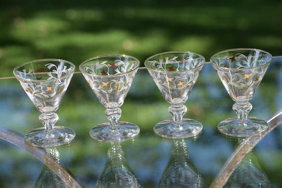 Vintage Cocktail Glasses with Gold and White Designs,  Set of 4,  Libbey Vintage Double Shot Glasses, 3 oz Liquor ~ Cocktail Glasses