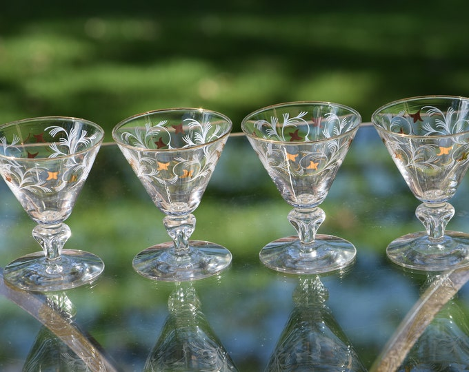 6 Vintage Cocktail Glasses with Gold and White Designs, Libbey, 1950's, 3 oz After Dinner Drinks Glasses -  Double Shot Glasses