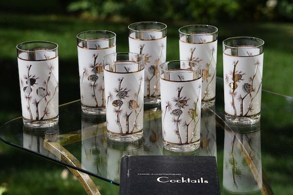 Vintage Highball Glasses, Set of 7, Satin White with Gold Highballs, Vintage Cocktail Glasses, Vintage Whiskey Bourbon Barware