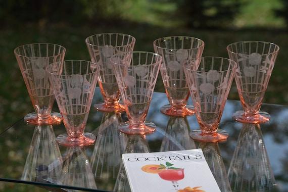 Vintage Etched PINK Cocktail Glasses, Set of 7, Vintage Pink Depression, Mixologist Craft Cocktail glasses, Home Bartender Cocktail Glasses