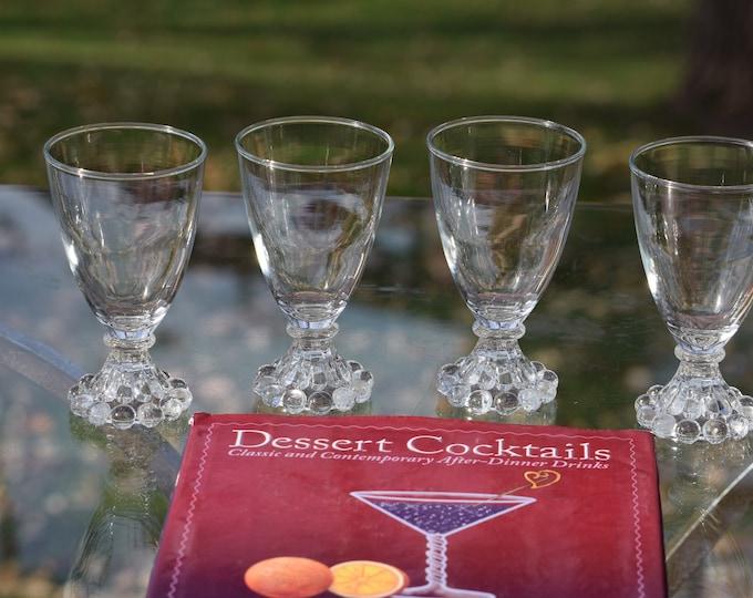 4 Vintage Wine Glasses - Liqueur Glasses, 4 oz After Dinner Drink Glasses ~ Limoncello ~ Vintage 4 oz Port Wine Glasses
