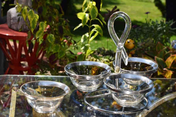 Vintage DOROTHY THORPE Sterling Silver Band & Lucite Lazy Susan -Appetizer Bowls, MCM 1950's Dorothy Thorpe ~Authentic