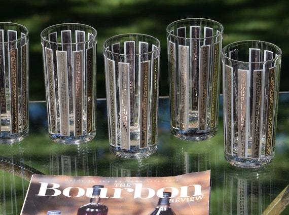 Vintage Cocktail Highball Glasses, Set of 6, Silver Gray Whiskey Highballs, Gin Glasses, 1950's 1960's  Barware, Mid Century Barware