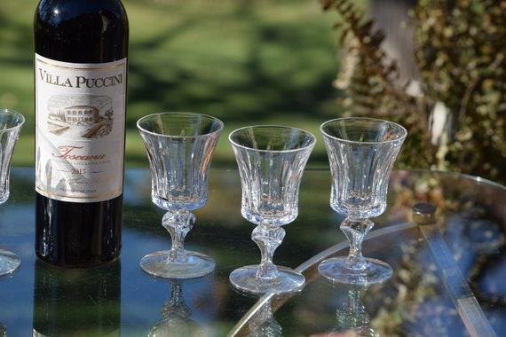 Vintage Etched Wine Glasses, Set of 6, Tiffin Franciscan, Princeton, c. 1960's, 5 oz Wine glasses, After Dinner Dessert Wine Glasses