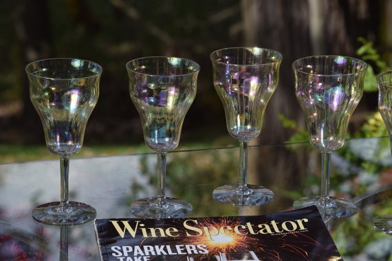 Vintage Iridescent Wine Glasses ~ Cocktail Glasses,  Set of 5,   Antique Wine glasses, Vintage Wedding Wine Glasses