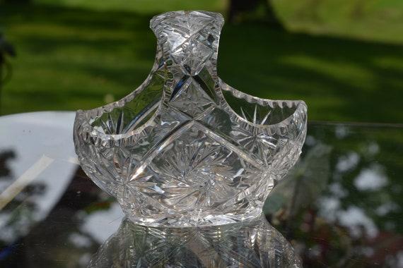 Antique American Brilliant Period Cut Glass handled Basket ~ Victorian Cut Glass Fruit Bowl w/Star Bottom, Shabby Chic Wedding Decor