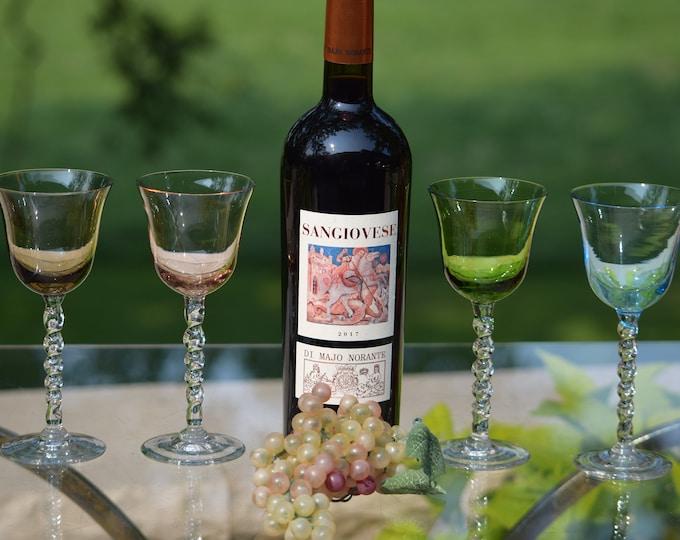 4 Vintage Multi Colored twisted clear stem Wine glasses, Vintage Multi Colored 5 oz Dessert Wine - After Dinner Drink Glasses