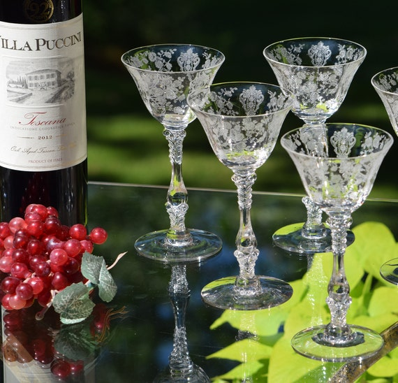 Vintage Liquor ~ Cocktail Glasses, Set of 4, Cambridge, Rose Point circa 1934, After Dinner Drink 3 oz Liquor ~ Limoncello Glasses