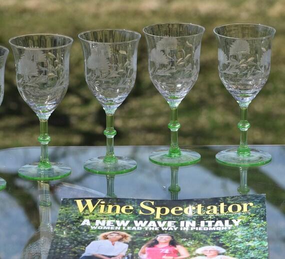 Vintage Green Stem Etched Wine Glasses, Set of 6, Green Vaseline Uranium Glass - Wine Glasses, Green Depression glasses, Garden Party