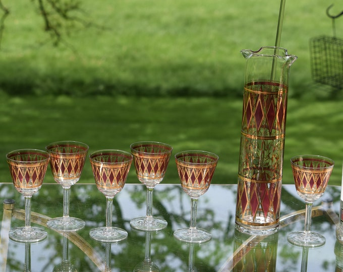 Vintage Cocktail Pitcher with 6 Cocktail Glasses, West Virginia Glass ~ 1950's, Mid Century Barware, Pink Gold Cocktail Pitcher & Glasses