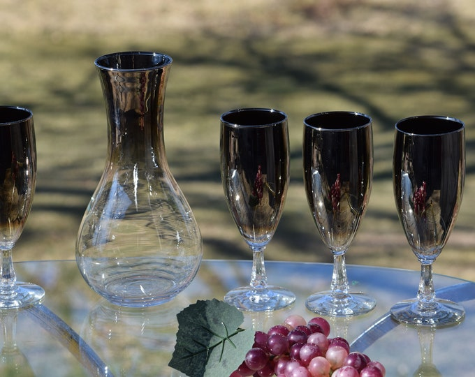 Vintage Wine Carafe ~ Pitcher with 4 matching Wine Glasses, 1950's Wine Carafe ~ Mercury Silver Fade Glass