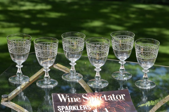Vintage Needle Etched Wine Glasses, Set of 6,  circa 1930's, Antique Needle Etched Water Goblets - Wedding Toasting ~ Vintage Weddings