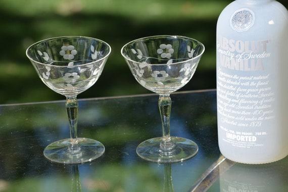 Vintage Etched Cocktail Martini Glasses, Set of 6, 1950's, Vintage Etched Champagne Glasses, Champagne Cocktail glasses