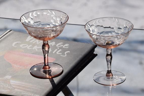 Vintage Etched PINK DEPRESSION Glass Cocktail - Martini Glasses, Set of 4, Vintage Pink Etched Martini Glasses, Pink Barware