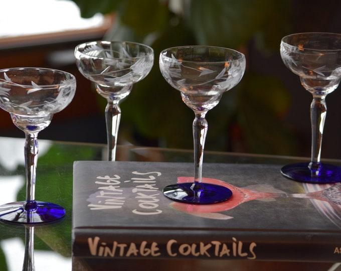 5 Vintage Etched Cocktail Glass with Cobalt Blue Foot,  circa 1950, Small 4 oz Cocktails ~ After Dinner Liqueur ~ Cocktail glasses