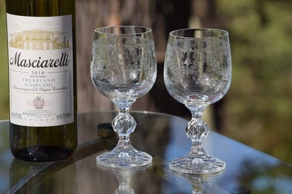 Vintage Acid Etched Wine Glasses, Set of 4, Import Assoc, Cascade, c 1985, Elegant Wine Glasses, Vintage Wedding Glasses