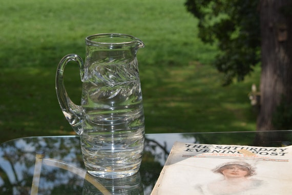 Vintage Etched Blown Glass Pitcher ~ Vintage Tall Pitcher with polished pontil, Large Heavy Cocktail Pitcher, Shabby Chic Pitcher