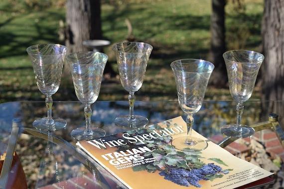 Vintage Iridescent Ruffled Optic Wine Glasses, Set of 5, Fostoria, 1940's, Iridescent Loop Optic Wine Glasses