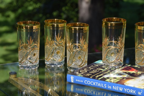 Vintage Etched Gold Cocktail - Highball Glasses, Set of 6 Vintage Whiskey, Bourbon, Scotch Glasses, Mid Century Gold Highballs, Home Barware