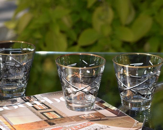 4 Vintage Whiskey Bourbon Rocks Glasses, Libbey, 1950's, Whiskey, Bourbon, Scotch Flared Lowball Glasses, Antique Gun Barware
