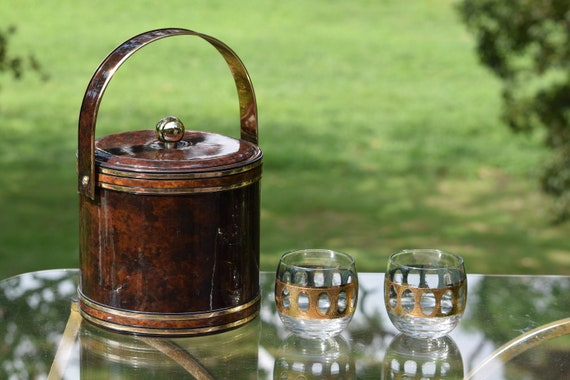 Vintage GEORGES BRIARD Gold and Brown Ice Bucket, Mad Men Barware, Vintage Barware, Housewarming Gift