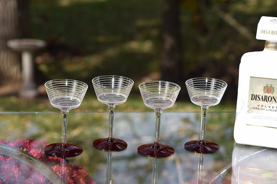 Vintage Etched Liquor - Wine Glasses, Set of 4, Ruby Red Foot - circa 1950, After Dinner Drink 3 oz Cordials, Small 3 oz Liquor glasses