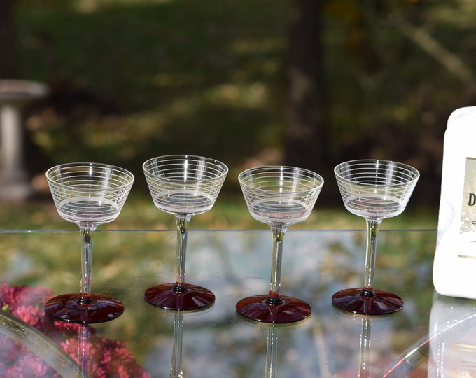 4 Vintage Etched Liquor - Wine Glasses, Ruby Red Foot - circa 1950, After Dinner Drink 3 oz Cordials, Small 3 oz Liquor glasses