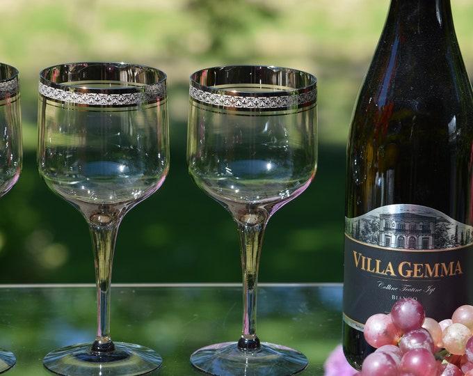 4 Vintage Platinum Encrusted Gray Crystal Wine Glasses, Tiffin Franciscan, Indigo, 1970's,  Vintage Water Goblets, Vintage Wedding Glasses