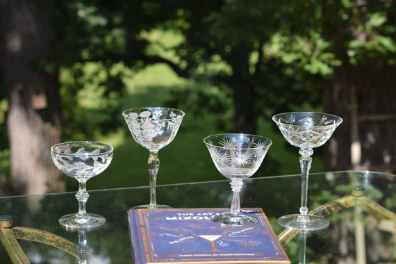 Vintage Etched Cocktail Martini Glasses, Set of 4 Mis-Matched Cocktail glasses, Mixologist Craft Cocktail Glasses, Manhattan Glasses