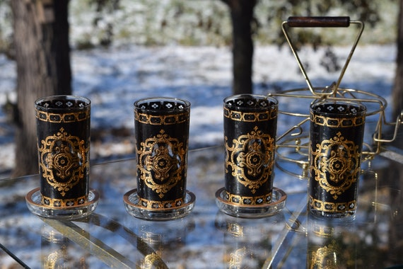 Vintage Black and Gold Cocktail Glasses with Coasters and Caddy, Vintage Gold Black Whisky Highball Glasses, Culver, Briard Style Highballs