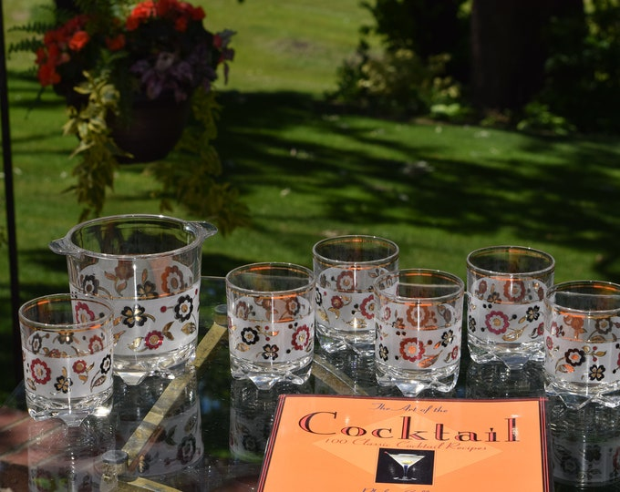6 Vintage Floral Lowballs with Matching Ice Bucket, 1950's, Italy, Rocks Glasses ~ Whiskey, Bourbon, Scotch Lowballs, Bar Cart Cocktail Set