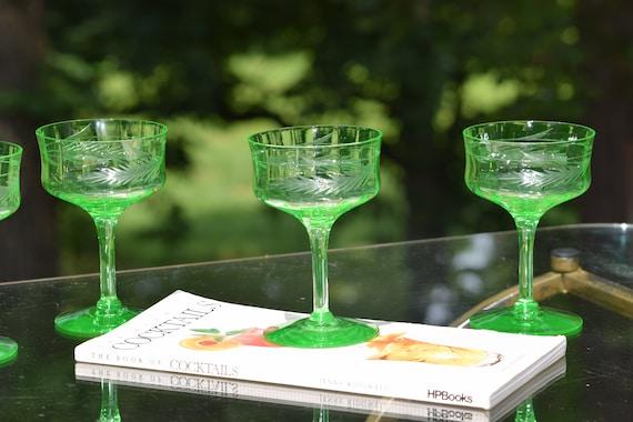 Vintage Etched Cocktail Martini Glasses, Set of 4,  Mixologist Craft Cocktail Glasses, Green Etched Optic VASELINE URANIUM Glass