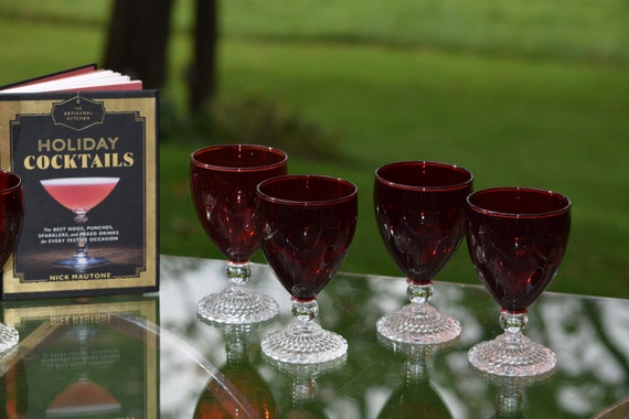 Vintage Ruby Red Cocktail ~ Wine Glasses, Set of 5,  Mixologists Ruby Red Cocktail Glasses, Cocktail Party - Christmas Cocktail Glasses
