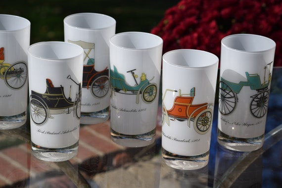 Vintage Cocktail ~ Whiskey - Highball Glasses, Set of 7, Gay Fad, 1950's, White Encased Glass with Antique Car Designs Glasses
