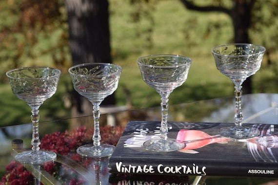 6 Vintage Etched Cocktail Glasses Set of 6,  Cocktail Party Glasses, Unique Etched Martini  Glasses, Mixologist Craft Cocktail Glasses