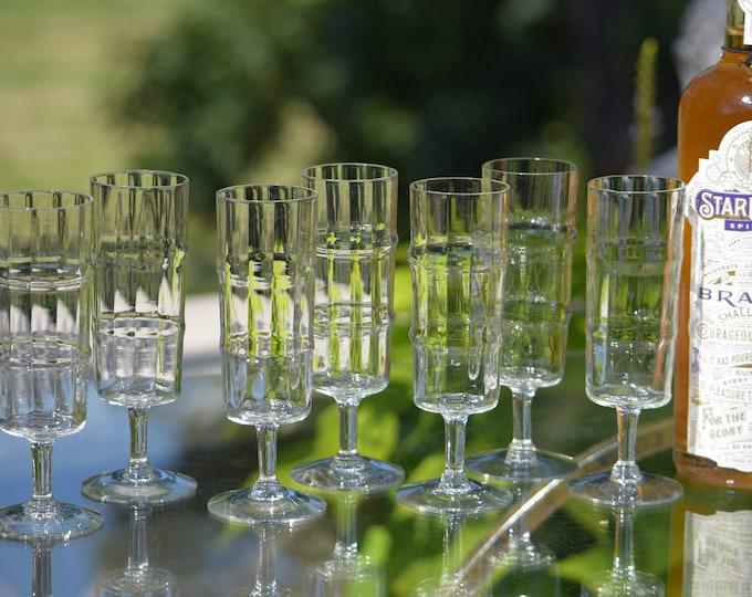 7 Vintage Wine ~ Champagne Glasses, 1960's,  10 oz Cocktail Glasses, Mixologist Craft Cocktail Glasses, Tall Sangria Champagne Glasses