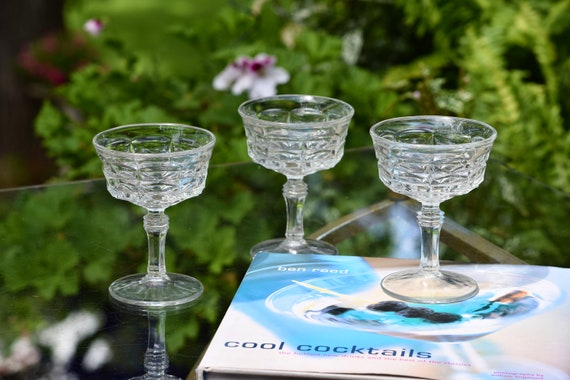 Vintage Cocktail - Martini Glasses Set of 4, 1960's Vintage Pressed Glass Champagne glasses, Cocktail Party glasses, Craft Cocktail Glasses