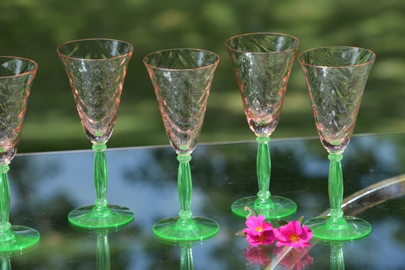 Vintage Festoon Optic Pink Green Stem Wine Glasses, Set of 5,  Tiffin Franciscan, Pink Festoon Optic, circa 1940's, 3 oz Port  Wine Glasses