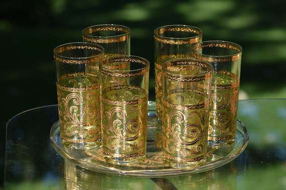 Vintage CULVER Highball glasses with matching Platter, Set of 6,  Culver Toledo Barware 1950's, Vintage Whiskey, Bourbon, Scotch Glasses